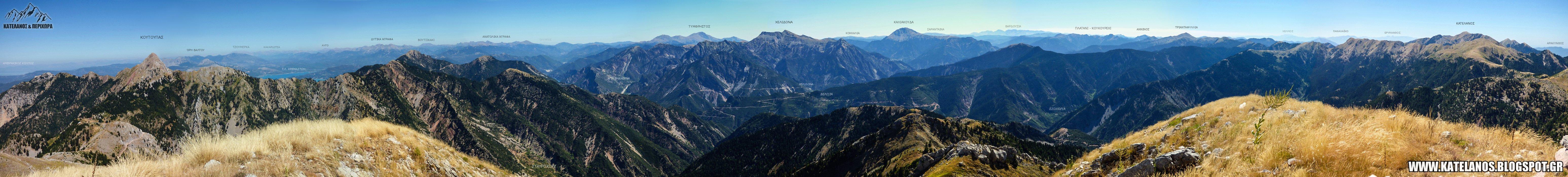 πανοραμικη ψωτογραφια θέα από την κορυφή νεραιδοβούνι παναιτωλικό όρος πανόραμα