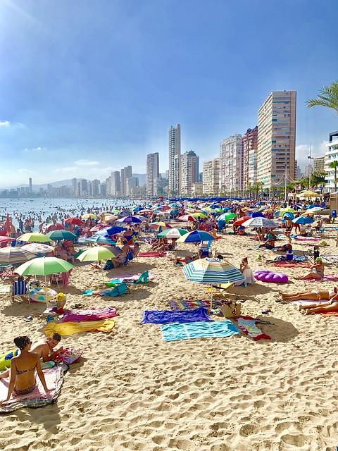Crowded Benidorm Beach taken by Cometan