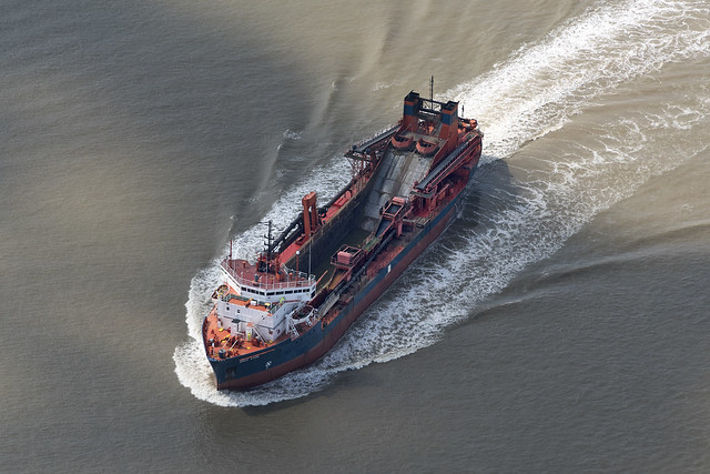 Aerial image of the Arco Avon dredger in the river Thames