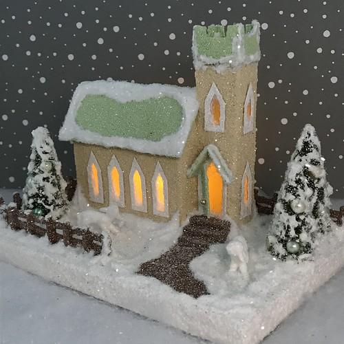 MINI Ivory and pale Green Putz Church