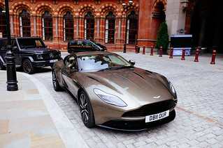 Aston in front of St. Pancras international.