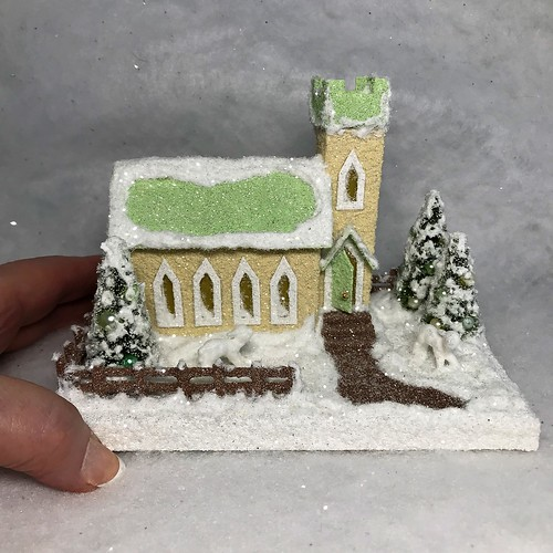 MINI Ivory and pale Green Putz Church
