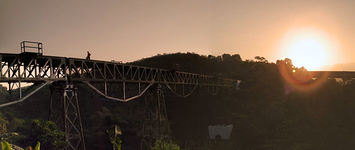sunrise train bridge lanscape human life pemandangan pagi scenery walk alone man