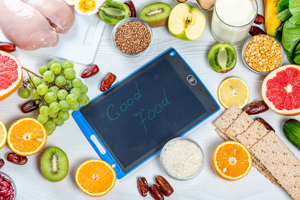 Healthy foods for a healthy diet with inscription - Good f… | Flickr