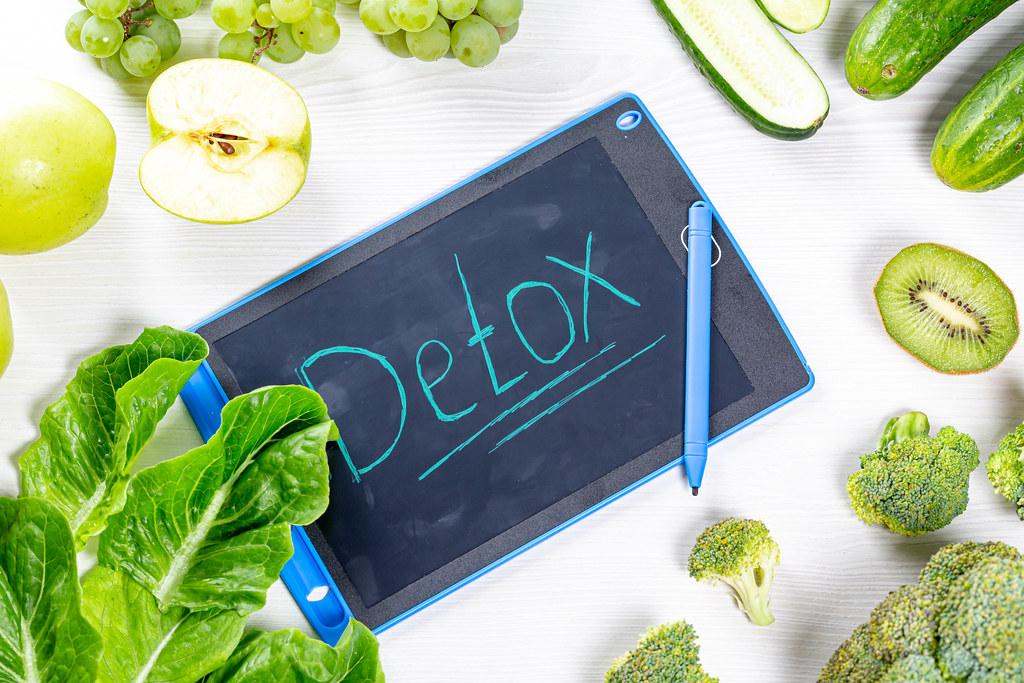 The concept of Detox. Fresh green fruits and vegetables on… | Flickr