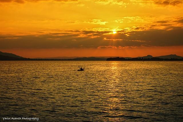 Golden Sunset Paddler