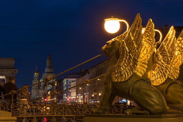 Griffins on Bank Bridge and the Church of the Savior on Blood - Saint Petersburg