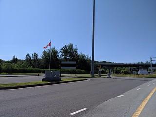 Canada USA border in Philipsburg, QC / Highgate Spring, VT