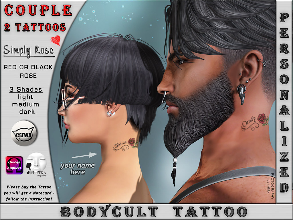BodyCult Tattoo Neck COUPLE Simply Rose