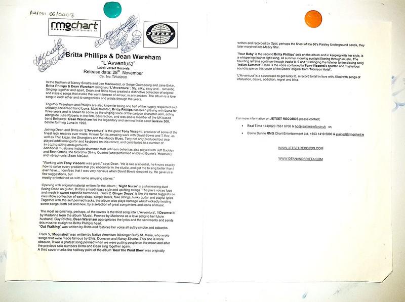 Dean & Britta - L'Avventura UK press release (2003)