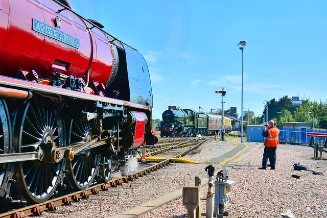 6233 & 7029 passing Worcester depot with  { 1452 Gloucester ~ Dorridge } 240819    S Widdowson (1)