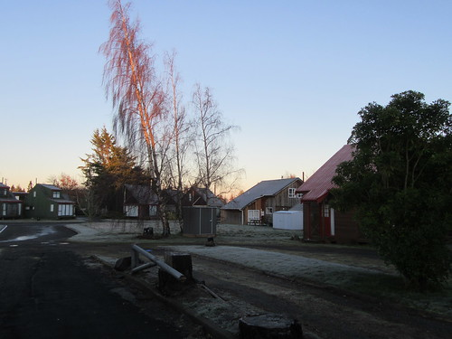 outdoor urban weather frost sunrise building chalet house tree road ohakune ruapehu newzealand