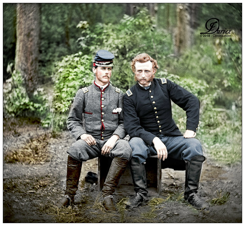 James B. Washington, a Confederate prisoner, with Capt. George A. Custer
