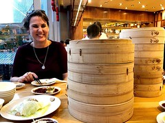 Finally! A friend who can keep up with my #dumpling habit Basically both of those towers are for me & @merilynw74 since @guentheralex can't keep up!