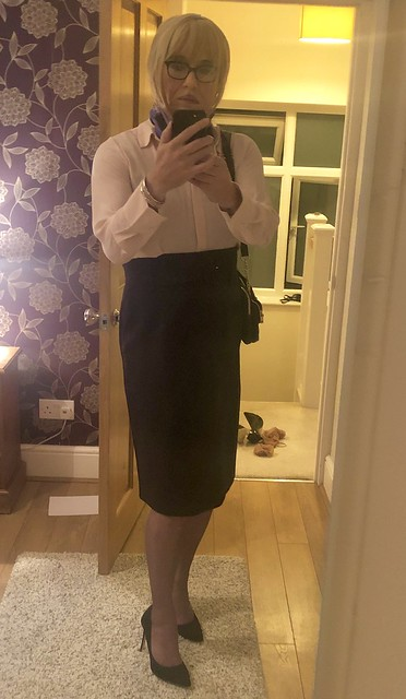 Pink blouse with pencil skirt