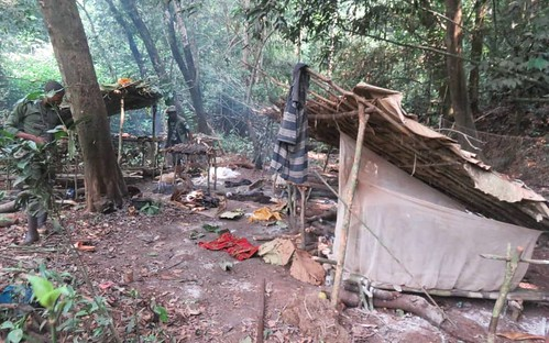 hastily abandoned poachers' camp