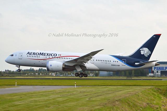 Aeromexico N965AM Boeing 787-8 Dreamliner cn/35308-127 @ Kaagbaan EHAM / AMS 13-10-2016