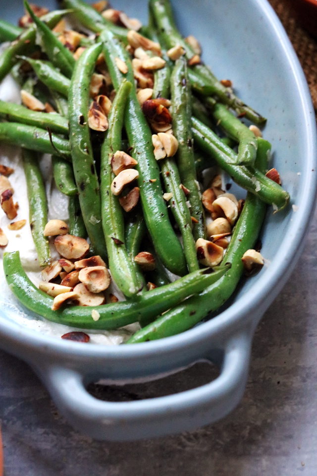 Blistered Green Beans with Creamy Tahini and Fresh Hot Sauce