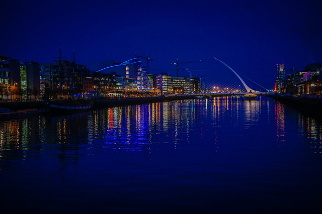 Samuel Beckett Bridge and River Liffey at Night - Dublin Ireland