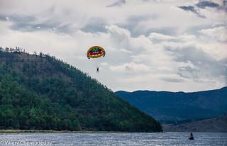 Parasailing on lake Baikal