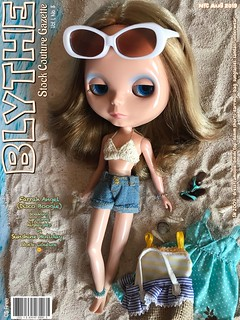 August 2019 BLYTHE Gazette Cover Girl:  Farrah Angel (Disco Boogie) ...soaking up some highlights in Sunshine Holiday Stock Couture 🌞