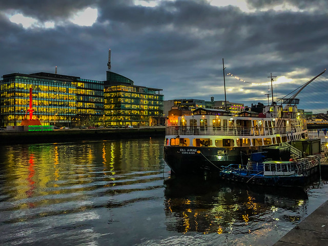 Dockland Office Buildings along the River Liffey at Night - Dublin Ireland