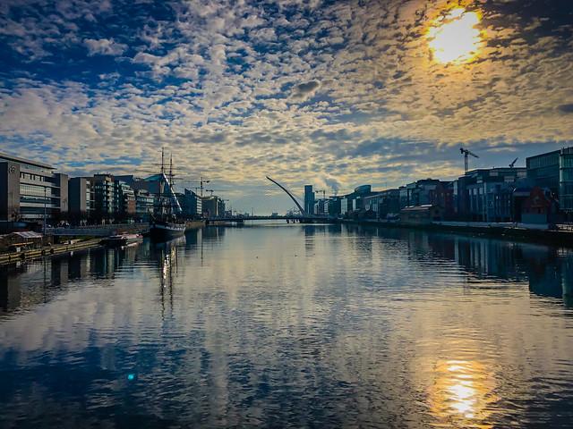 Morning reflections on the River Liffey with Samuel Beckett Bridge - Dublin Ireland
