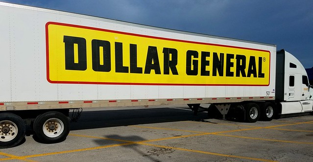 Dollar General truck: delivering hyper-discounted unhealthy can food to Trumpistan's food deserts