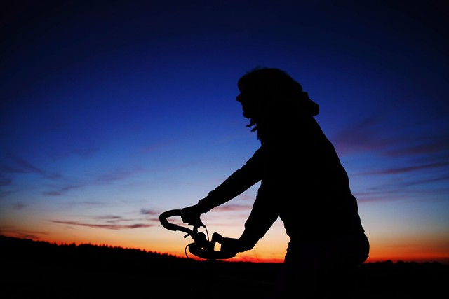 taking a bicycle Ride after sunset