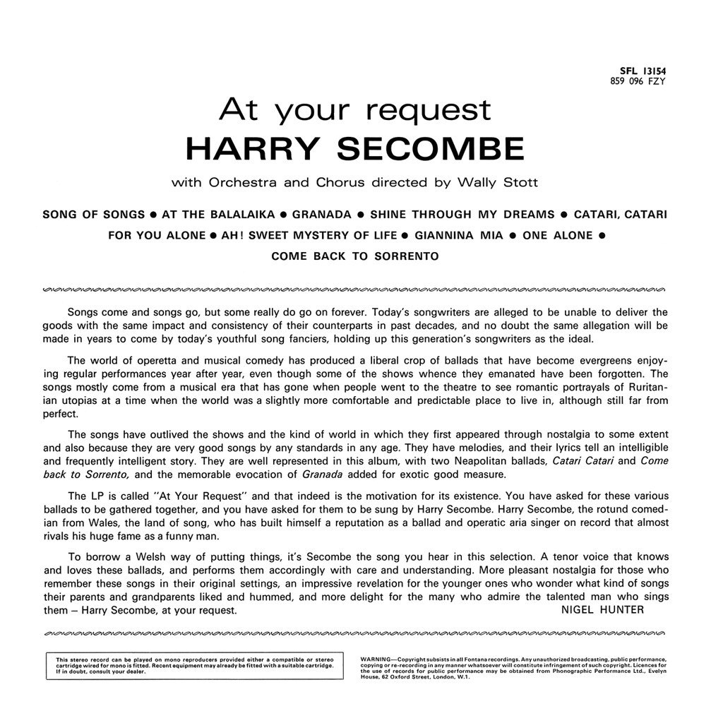 Harry Secombe - At Your Request