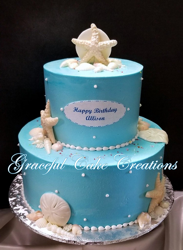 Enjoyable Beach Themed Birthday Cake In Tiffany Blue Butter Cream Wi Flickr Birthday Cards Printable Trancafe Filternl