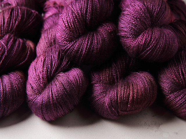 Brilliance Lace – British Bluefaced Leicester wool and silk hand-dyed yarn 100g – 'Dancing in the Dark' (purple)