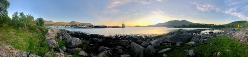 MS ALK at Stokmarknes Port and Midnight Sun