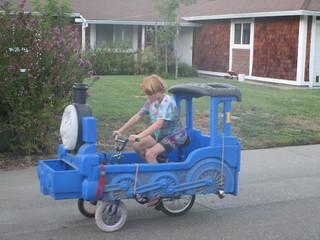 Sam driving Thomas