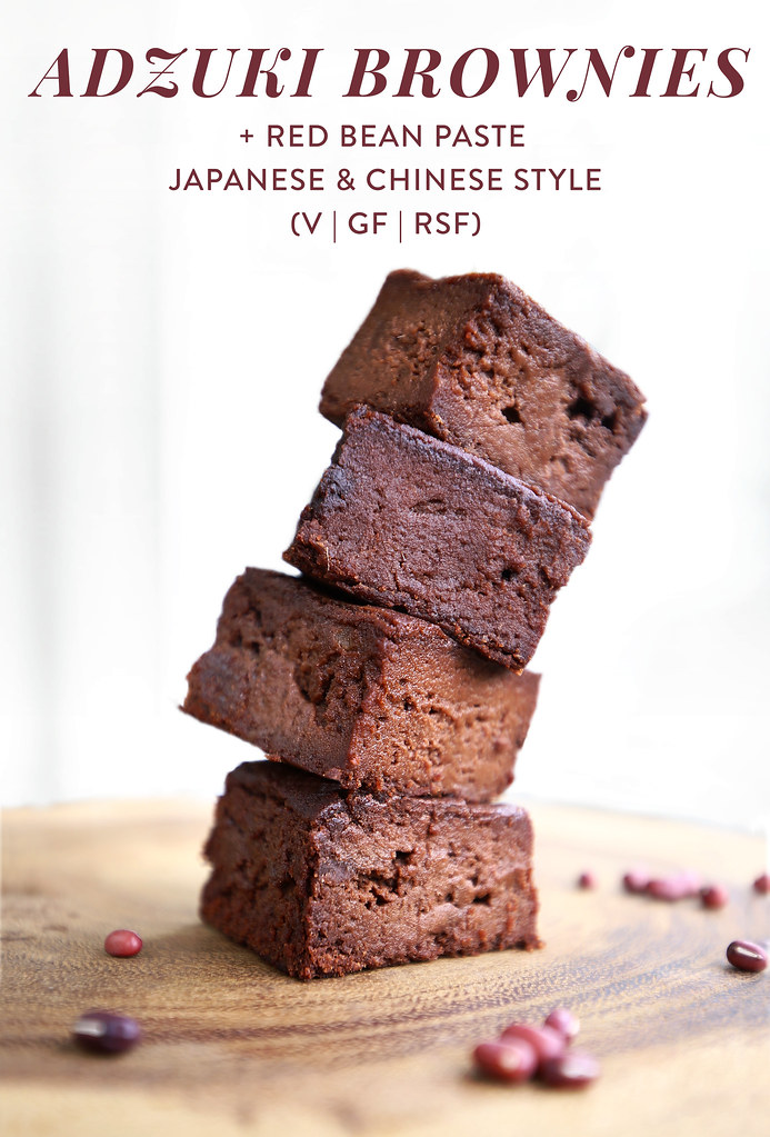 Adzuki Bean Brownies (Vegan, Grain-Free) + Red Bean Paste Japanese and Chinese style