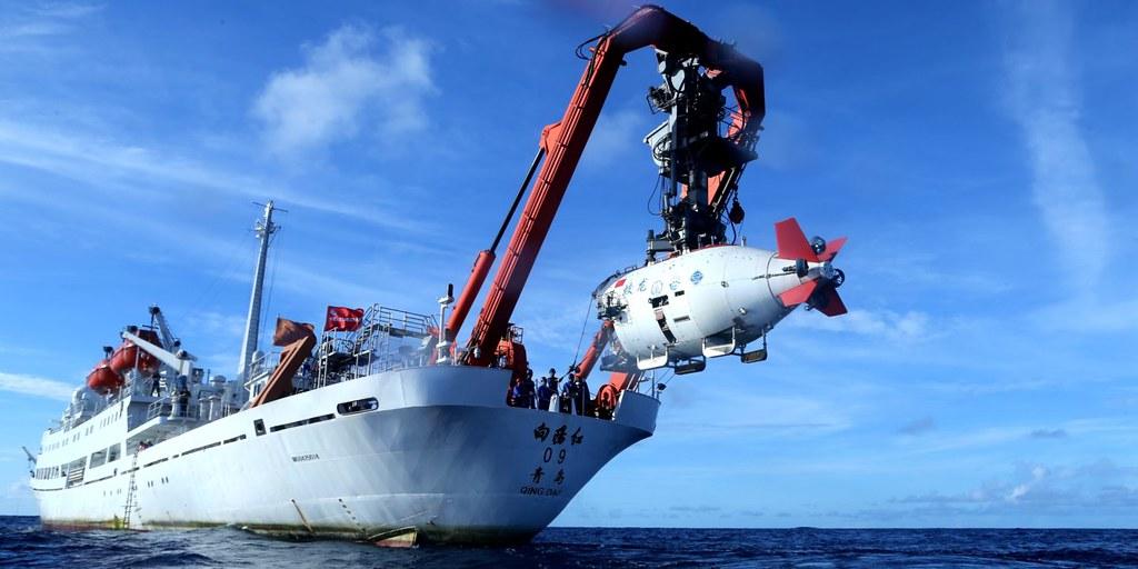 2017年6月13日,中國深海載人潛水器蛟龍號潛入西太平洋的雅普海溝。圖片來源:新華社/劉詩平