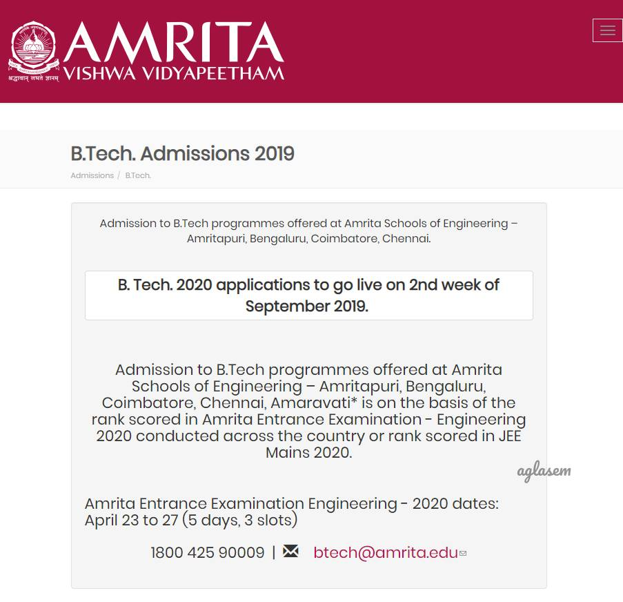 Amrita Vishwa Vidyapeetham announces AEEE 2020 exam date; Registration to start in September
