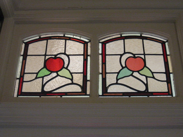 An Art Nouveau Stained Glass Vent Window in the Bay Window of the Dining Room of
