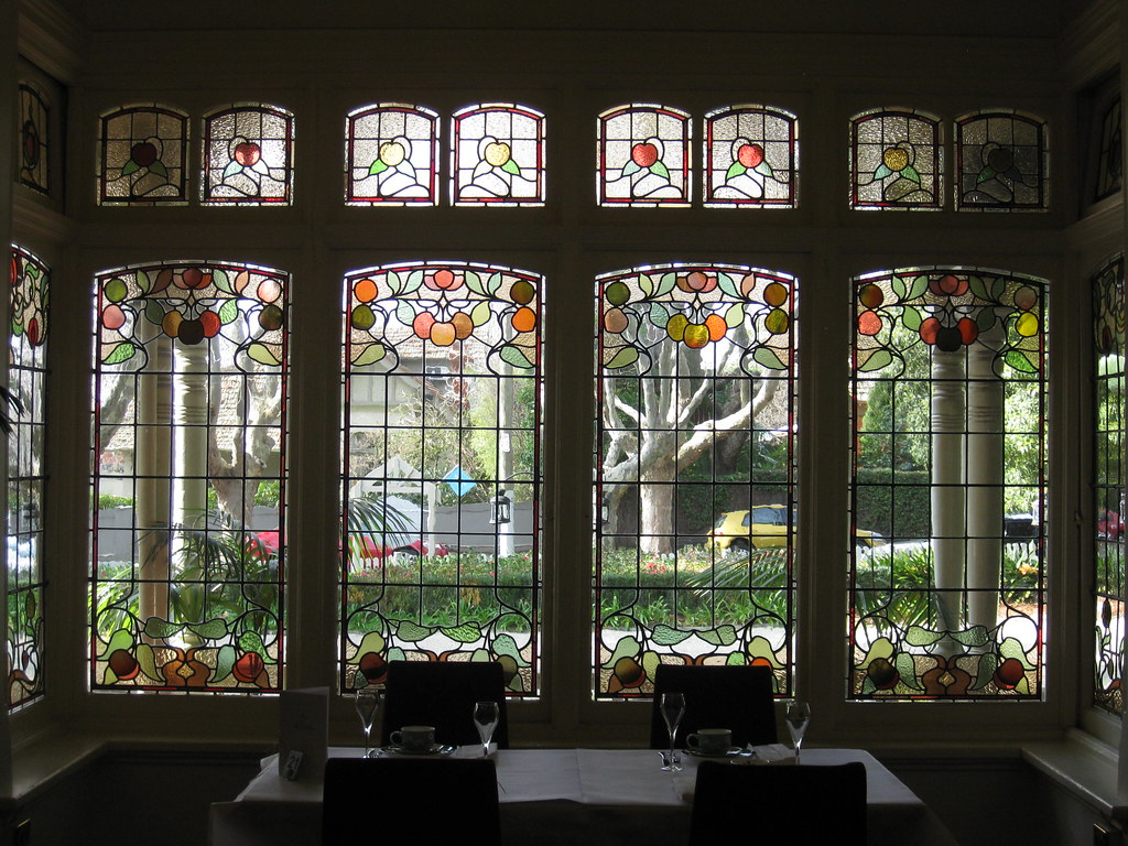 """The Art Nouveau Stained Glass Bay Window of the Dining Room of """"The Gables"""" Queen Anne Villa - Finch Street, East Malvern"""