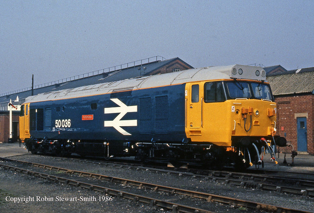 BR Class 50 No 50036 'Victorious' BREL Doncaster Works 3rd May 1986