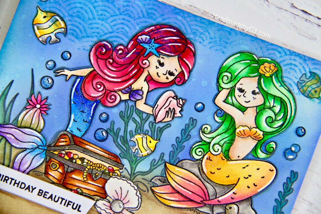 Mermaid card closeup