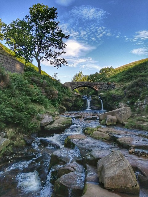 Three Shires Head. Derbyshire, Staffordshire and Cheshire border. Peak District National Park.