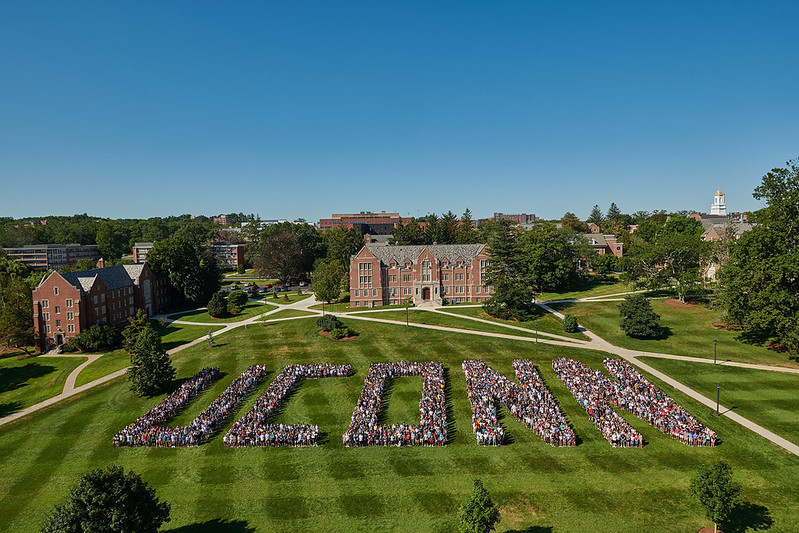 Students arranged to spell UConn