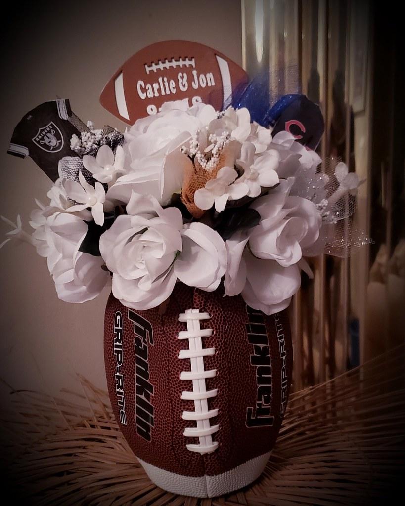 Football Themed Centerpiece Informal Wedding Reception