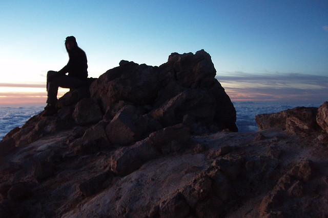 Waiting for sunrise on Summit of Mount Teide, Teide National Park, Tenerife