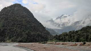Franz Josef - Morning View to Waiho River & Glacier from Highway 6