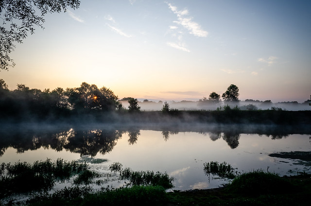 Fog rises over the river during sunrise.
