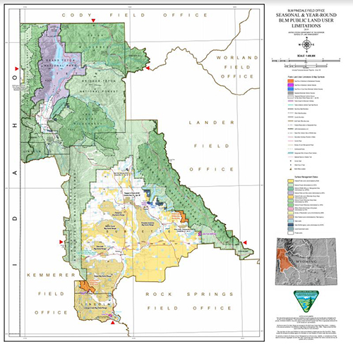 A map showing BLM Wyoming administered areas of legal public access in the Pinedale Field Office
