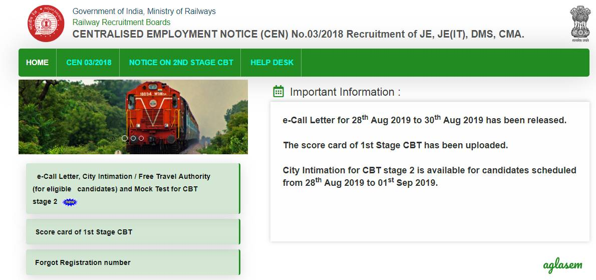 RRB JE CBT 2 admit card released for 28-30 August, No change in exam date or result