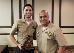 Hospital Corpsman 1st Class Edward Navarro is awarded Independent Duty Corpsman of the Year for 2018 by the Bureau of Medicine and Surgery (BUMED). (U.S. Navy/Force Master Chief Hosea Smith)